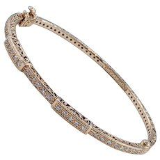 Charriol Diamond & 18K Rose Gold Bangle Bracelet
