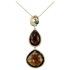 Gorgeous Multi Stone Drop Pendant Necklace with Tiffany & Co Chain
