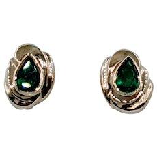 Beautiful Emerald & Gold Post Earrings