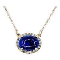 Deep Blue Opal & Diamond Halo Pendant Necklace
