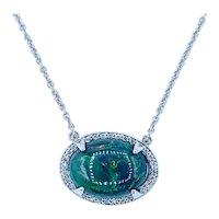 Beautiful Opal & Diamond Halo Pendant Necklace