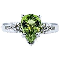 Stunning Pear Shape Peridot & Diamond Ring