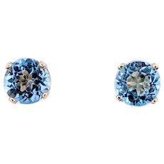Precious Aquamarine Stud Earrings