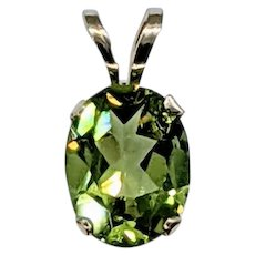 Bright Peridot & Solid Gold Pendant
