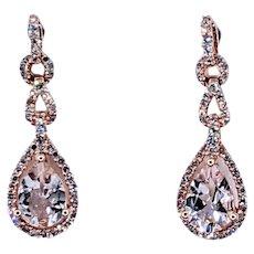 Lovely Morganite & Diamond Dangle Earrings