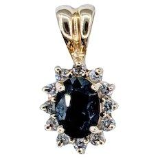 Classy Sapphire & Diamond Halo Pendant