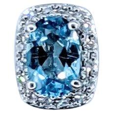 Delicate Blue Topaz & Diamond Pendant