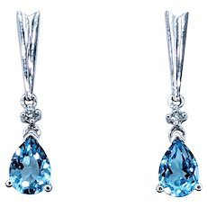 Modern Blue Topaz & Diamond Earrings