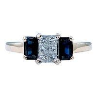 Invisibly Set Diamond & Sapphire Dress Ring
