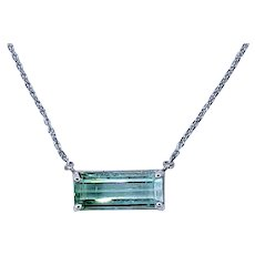 Mint Green Tourmaline & 14K White Gold Necklace