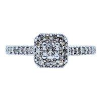 Diamond Halo Engagement Ring with Milgrain