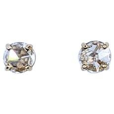 Round Rose-Cut Diamond Stud Earrings