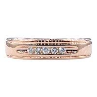 Beautiful Diamond & Rose Gold Band Ring