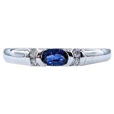Vivid Blue Sapphire & Diamond Ring