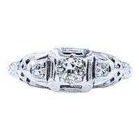 Old European Cut Diamond & White Gold Ring