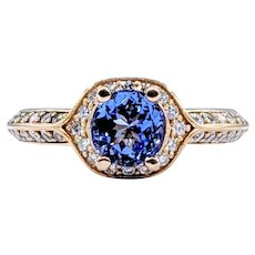 Vivid Tanzanite & Diamond Dress Ring