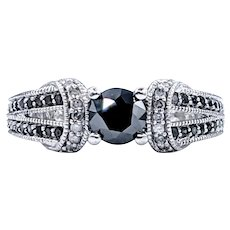 Striking Black & White Diamond Engagement Ring