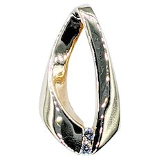 Stylish Diamond & 14K Gold Slide Pendant