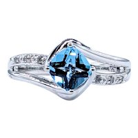 Vivid Blue Topaz & Diamond Dress Ring