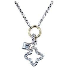 David Yurman Quatrefoil Charm Necklace - Sterling Silver & 18K Gold