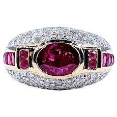 Stylish Ruby & Diamond Cocktail Ring