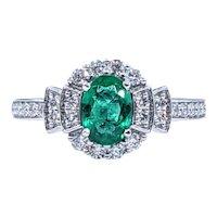 Elegant Emerald & Diamond Dress Ring