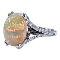 Vibrant Ethiopian Opal & Diamond Cocktail Ring
