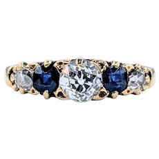 Old Mine Cut Diamond & Sapphire Engagement Ring