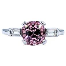 Bright Pink Tourmaline & Diamond Dress Ring
