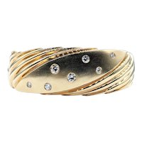 Retro Diamond & Solid Gold Hinged Bracelet
