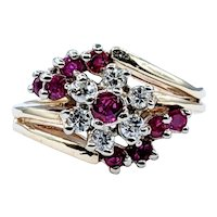 Sophisticated Ruby & Diamond Cluster Ring