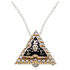 Solid Gold & Enamel Tri Sigma Pendant / Pin Necklace