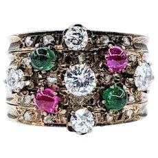 Antique Diamond Ruby & Emerald Five Band Ring