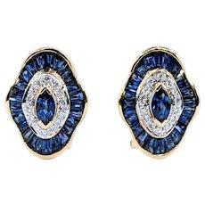 Elegant Sapphire & Diamond Earrings