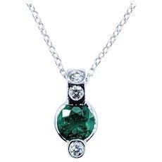 Stylish Emerald & Diamond Pendant Necklace - 18K White Gold