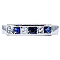 Precious Sapphire & Diamond Band - Platinum