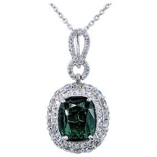 Marvelous Mint Tourmaline & Diamond Pendant Necklace