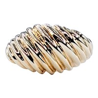 Fluted Solid Gold Dome Ring