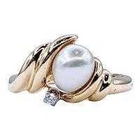 Charming Pearl & Diamond Ring