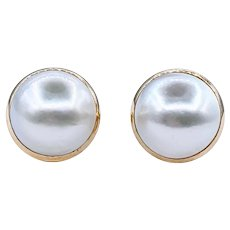 Classy Mabe Pearl Button Earrings
