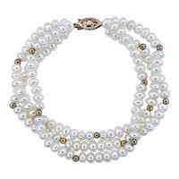 Cultured Pearl & 14K Gold Multi Strand Bracelet