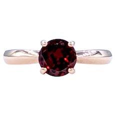 Deep Red Garnet Solitaire Ring