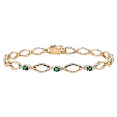 Fashionable Emerald, Diamond & 14K Gold Link Bracelet