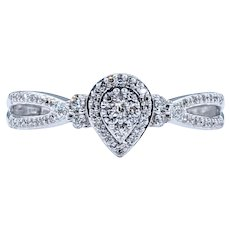Lovely Diamond & Solid White Gold Dress Ring