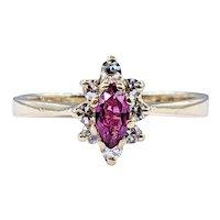 Simple Marquise Cut Ruby & Diamond Ring