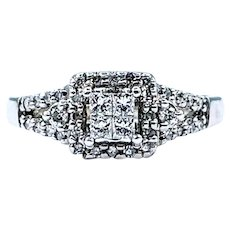 "Elegant Diamond & Solid White Gold ""Illusion"" Ring"