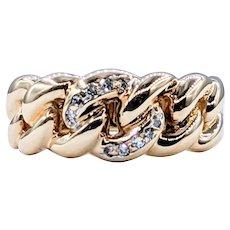 "Stylish Diamond & 14K Gold ""Chain Link"" Ring"