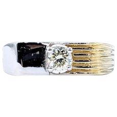 Unique Solitaire Diamond & Two-Tone Gold Men's Ring