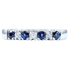 Classic Sapphire & Diamond Band - 14K White Gold