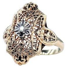 Vintage Diamond & Gold Filigree Dress Ring